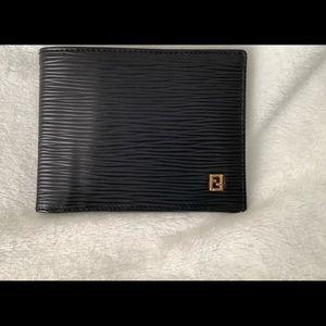 Fendi Mens Authentic Black Leather Wallet